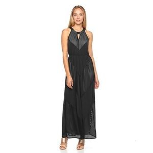 Apt 9 Black Mitre Textured Halter Maxi Dress
